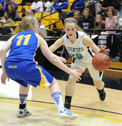 Patterson Mill's Rachel Eberius tries to get around a Calvert player in Friday's Class 2A state semifinal at UMBC. Patterson Mill lost to Calvert, 42-31.