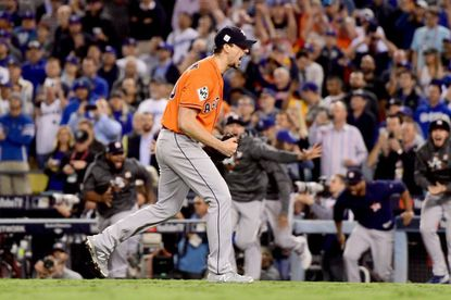 Charlie Morton celebrates after the Astros defeated the Dodgers in Game 7 of the World Series on Wednesday, Nov. 1, 2017. Morton earned a four-inning save after signing a two-year deal with Houston last November.