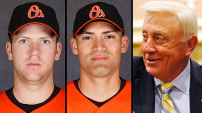 Double-A right-handers Zach Clark (left) and Eddie Gamboa are transitioning into knuckleballers with the help of Hall of Famer Phil Niekro (right).