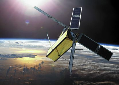 Artist rendering of the Radiometer Assessment using Vertically Aligned Nanotubes (RAVAN) satellite, a new, low-cost cubesat mission led by the Johns Hopkins Applied Physics Laboratory.