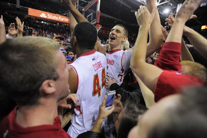 Maryland guard Seth Allen leaps for joy in the second half of a win over Maryland-Eastern Shore.