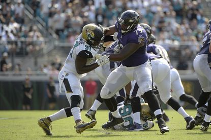 Ravens offensive tackle Ronnie Stanley blocks Jacksonville Jaguars defensive end Yannick Ngakoue during the second half of an NFL football game in Jacksonville, Fla., Sunday, Sept. 25, 2016.