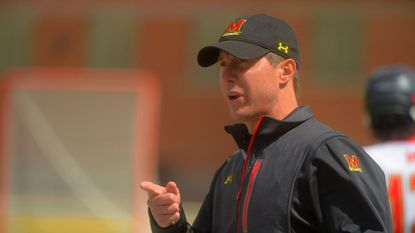 Maryland men's lacrosse coach John Tillman, shown in April, became the fastest coach in program history to reach 100 wins with Wednesday's 13-6 victory over Penn.