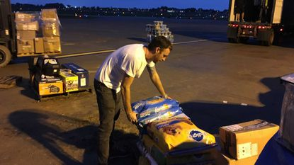 Jesse Vann, a Baltimore native now living in St. John, assembles supplies being sent to the U.S. Virgin Islands as part of Hurricane Irma relief efforts.
