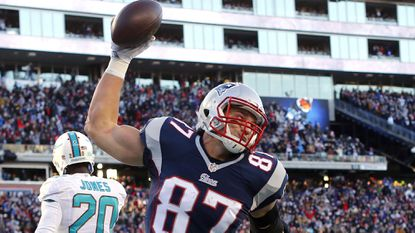 New England Patriots tight end Rob Gronkowski was absent from the Ravens' last postseason meeting with the Patriots, and injured the time before that.
