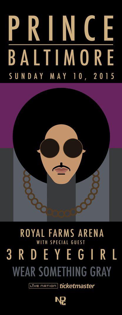 Prince will perform atBaltimore's Royal Farms Arena on Sunday.