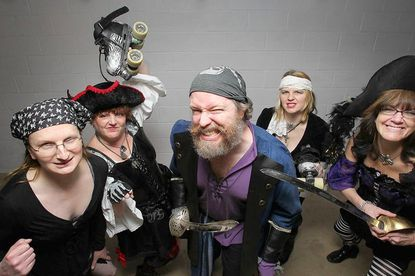 "The Chesapeake Roller Derby team members Danielle ""Dani Ocean"" Kally, left, of Phoenix;, Stacey ""Blood Beth & Beyond"" Duvall, of Phoenix;, Jim ""James Bondage"" Doran, of Reisterstown; Jeanne ""Maiden China"" Graham, of Phoenix, and Sharon ""Shea Legs"" Stahl, right, of Phoenix, will be featured at a pirate-themed fundraiser on Feb. 22 at Chops Restaurant, in the Manor Shopping Center in Jacksonville."
