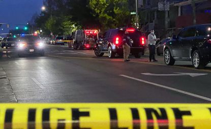 Police are investigating the 4600 block of York Road in North Baltimore Friday evening after a double shooting involving two Department of Public Works employees left one dead and one in critical condition.