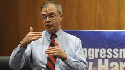 U.S. Rep. Andy Harris answered questions on a wide range of topics at a town hall meeting he held with his constituents last March at Chesapeake College in Wye Mills, Maryland.