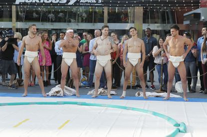"""L-R: Shawn B., Clint, JJ, Chris and Joe get ready for sumo wrestling on """"The Bachelorette."""""""