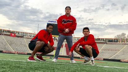 "Jalen Brooks (left) along with fellow Maryland students Tomas Garchitorena (center) and Jorge Richardson (right) will represent the school in the 2018 ""Red Bull Can You Make It?"" survival competition. The competition will be held throughout Europe April 10-16."