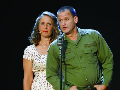 """Playwright Susan Thompson portrays her mother, Cleora, and actor Kermit Dunkelberg plays Dwight Thompson in the play """"Unforgettable: Letters from Korea."""""""