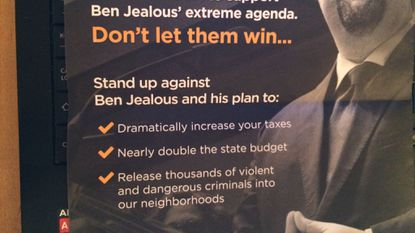Fliers sent by the campaign for Gov. Larry Hogan to Baltimore voters this week continued the attack on Ben Jealous with echoes of an infamous ad used in the 1988 presidential campaign to elect George H.W. Bush.