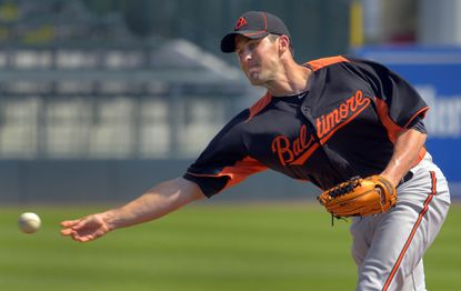 Orioles reliever Darren O'Day pitches.