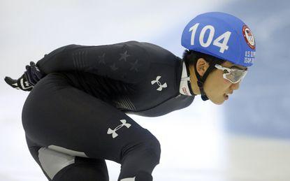 Thomas Insuk Hong (104) competes in the men's 1000-meter during the U.S.Olympic short track speedskating trials Sunday, Dec. 17, 2017, in Kearns, Utah.