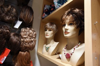 Mannequins display wig options at the Claudia Mayer / Tina Broccolino Cancer Resource Center at Howard County General Hospital.
