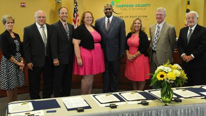 Current members of the Harford County Board of Education are shown during their swearing in ceremony in July 2015 (member Joseph Hau was absent). At least five of the nine members, possibly more, will be leaving this coming July when their terms end.