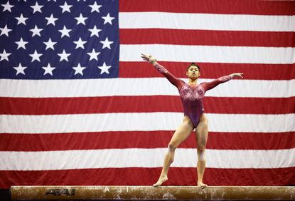 Kayla DiCello competes on the balance beam during the women's junior competition of the 2019 U.S. Gymnastics Championships at the Sprint Center on Aug., 11, 2019, in Kansas City, Missouri.
