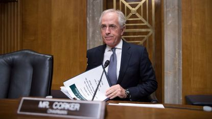 FILE--In this photo from Thursday, Feb. 9, 2017, Sen. Bob Corker, R-Tenn., chairman of the Senate Foreign Relations Committee, arrives to lead a hearing about the future of U.S. relations with Russia, on Capitol Hill in Washington.