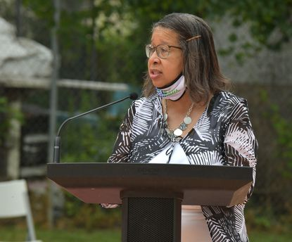 Annapolis Alderwoman Rhonda Pindell Charles reads part of a dedication for the Breonna Taylor mural at Chambers Park in Annapolis in August that included several members of her family. Pindell Charles has announced she is running for a third term as Ward 3 alderwoman.