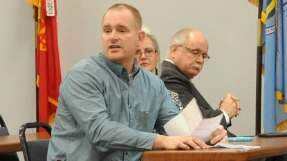 Jason Gallion, who has been placed on the primary election ballot for the seat of the late Harford Sen. H. Wayne Norman Jr., speaks during a joint meeting of the Harford and Cecil counties Republican State Central committees in Fallston Wednesday evening.