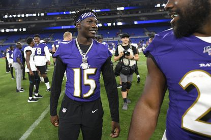 Top Ravens draft pick Marquise Brown participates in first team drills, works to earn back his nickname