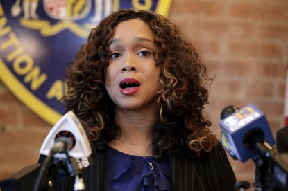 Maryland State Attorney Marilyn Mosby speaks during a news conference announcing the indictment of correctional officers, Tuesday, Dec. 3, 2019, in Baltimore. Twenty five correction officers, most of whom were taken into custody earlier in the day, are charged with using excessive force on detainees at state-operated Baltimore pretrial correctional facilities.
