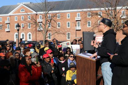 Chinedu Nwokeafor, an alumnus of Morgan State University, speaks during a rally in support of Maryland's four historically black colleges in Annapolis, Maryland, on Wednesday, Nov. 13, 2019.