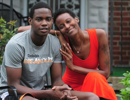 St. Frances forward Dwayne Morgan poses with his mother, Tabitha Chambers, at their Park Heights home.