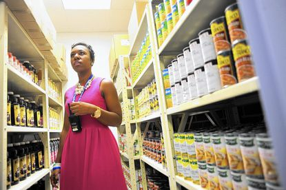 School counselor Ashley Armstead is coordinator of the food pantry at Bryant Woods Elementary in Columbia. The pantry is open two days a week for students and their families.