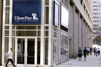 Shown is the exterior of T. Rowe Price's Pratt Street headquarters in downtown Baltimore.