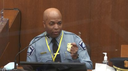 In this image from video, witness Minneapolis Police Chief Medaria Arradondo testifies against former Minneapolis police Officer Derek Chauvin at the Hennepin County Courthouse in Minneapolis on April 5. Such testimony was critical in convicting Chauvin on murder and manslaughter charges in connection with the death of George Floyd. (Court TV via AP, Pool)
