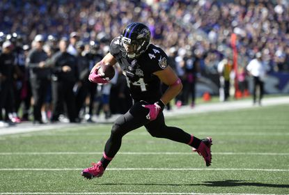 Ravens fullback Kyle Juszczyk in the first half of a game against the Cleveland Browns. Juszczyk has caught a pass on 41.7 percent of first-half plays this season.