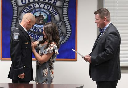 Taneytown Mayor Bradley Wantz swore in Jason Etzler as chief of the Taneytown Police Department on Tuesday, Aug. 13, 2019.