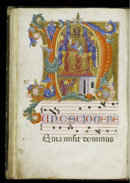(Detail) Illumination of St. Peter Enthroned and Released from Prison with a chant for the Feast of Sts. Peter and Paul, from antiphonary and gradual, Italy (Florence), ca. 1380; Walters Art Museum