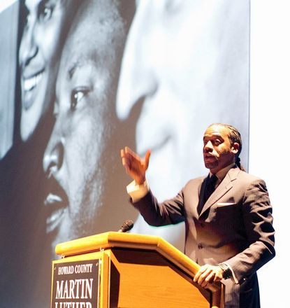 Guest speaker Jeff Johnson talks to the audicence at Howard Community College about the importance of taking action in keeping Dr. King's message alive.