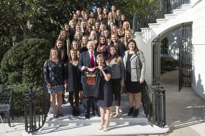 President Donald J. Trump meets and poses for photos with the University of Maryland Women's Lacrosse NCAA National Championship Team, Friday, Nov. 17, 2017, during the Collegiate National Champions Day at the White House in Washington, D.C.