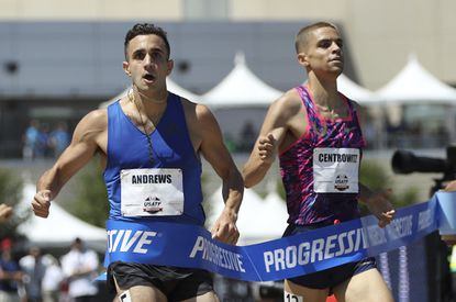 Robby Andrews, left, reacts as he wins the men's 1500 meters ahead of second-place finisher Matthew Centrowitz, right, at the U.S. Track and Field Championships, Saturday, June 24, 2017, in Sacramento, Calif.