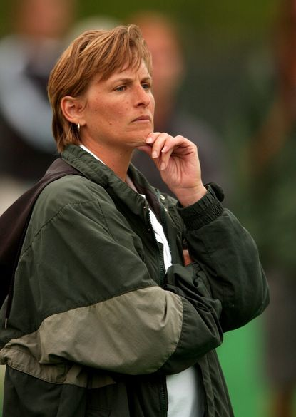 Loyola College women's lacrosse coach Diane Geppi-Aikens watches from the sideline during a game against Maryland on May 9, 2002.