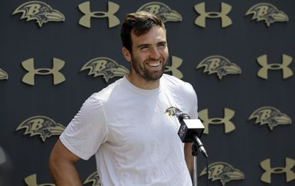 Baltimore Ravens quarterback Joe Flacco speaks at a news conference after an organized team activity, Thursday, May 28, 2015, in Owings Mills.