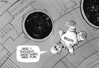 Jeff Bezos enjoys space flight and his tax bill. (Bill Bramhall/Tribune Content Agency).