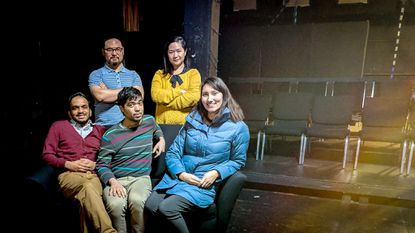 Grant Chang, Kim Le, Jacob Joseph, Sam Brunner, and Brian E. Young are the members of A++, an improv team of the Baltimore Improv Group.