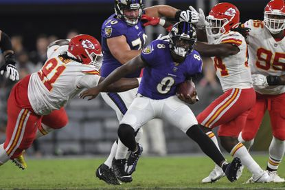 Baltimore Ravens quarterback Lamar Jackson (8) runs the ball during the second half of an NFL football game against the Kansas City Chiefs, Sunday, Sept. 19, 2021, in Baltimore. (AP Photo/Terrance Williams)