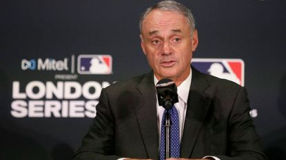 Major League Baseball commissioner Rob Manfred speaks during a news conference before a baseball game between the Boston Red Sox and the New York Yankees, Saturday, June 29, 2019, in London.