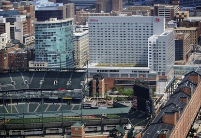 The Hilton Baltimore hotel located near Oriole Park at Camden Yards.