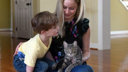 Krista Ellis and her son Matthew Ellis Gobel, 4 1/2, are fostering Grady, a cat who was placed with them by Best Friends In Harford County.