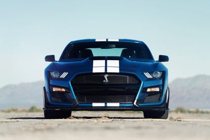 """The 2020 Shelby GT500 gets a supercharged 5.2-liter V-8 engine with seven-speed automatic transmission churning out 700 horsepower, making it the most powerful street-legal Ford ever built. It hits 60 mph in 3.5 seconds, with a quarter-mile time below 11 seconds, according to the company.<a href=""""https://www.chicagotribune.com/classified/automotive/autoshow/ct-2020-ford-mustang-shelby-gt500-20190114-photogallery.html"""" target=""""_blank"""">READ THE OVERVIEW&gt;&gt;&gt;</a>"""