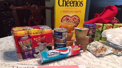 """Contents of the """"Weekend Survival Kit"""" provided by Heart's Place Services and Maryland Food Bank."""