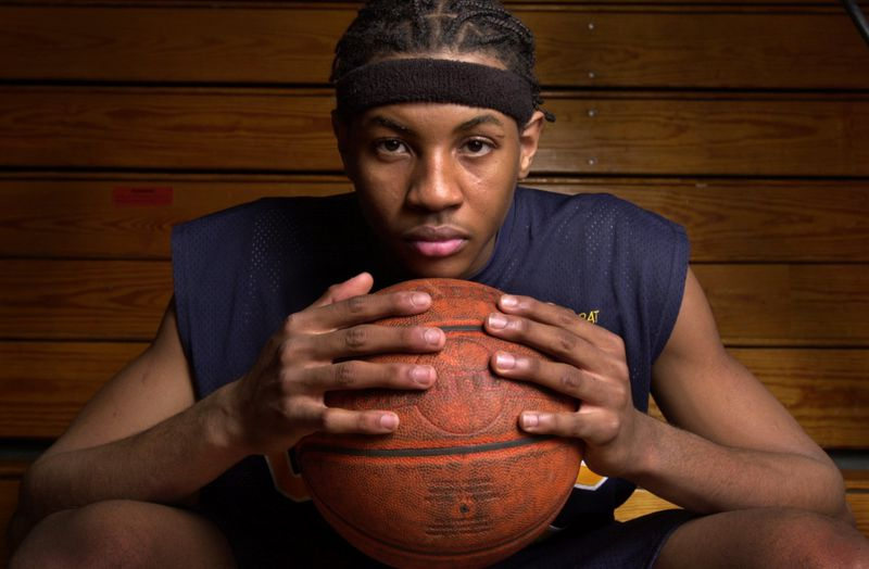Carmelo Anthony, a Towson Catholic forward, poses for a photo after being named to the All-Baltimore City team.
