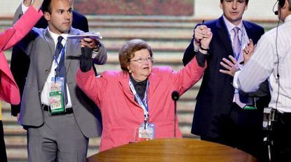 Sen. Barbara Mikulski previews the stage at the Democratic National Convention on Wednesday, where she later gave a speech and was joined onstage by the other Democratic women senators.
